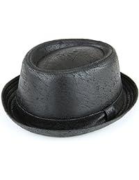 PORKPIE sombrero negro agrietada piel efecto vintage suave acabado