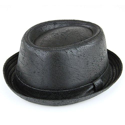 Hawkins - Chapeau Pork Pie en cuir vieilli vintage craquelé - Finition douce - Noir - Noir - 59
