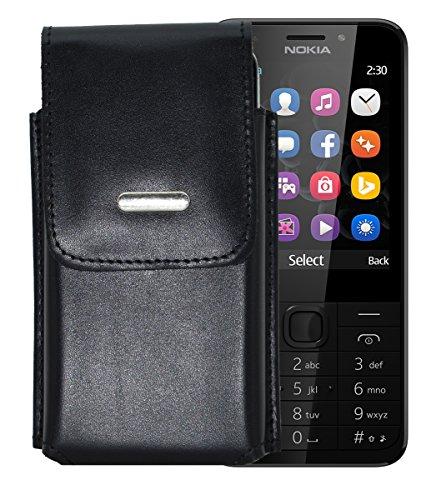 Vertikal Etui für / Nokia 230 - 230 Dual SIM / Köcher Tasche Hülle Ledertasche Vertical Case Handytasche mit einer Gürtelschlaufe auf der Rückseite