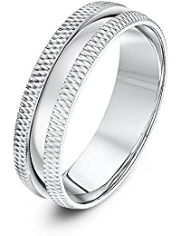 Theia Unisex Sterling Silver Polished and Millgrained Matt Edge Finish 6 mm Wedding Ring