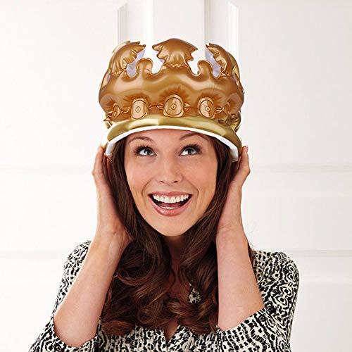 , Inflatable Crown King Queen Kost¨¹m Kost¨¹m Geburtstags-Party Hat Cap Photo Props Supplies-Golden S ()