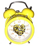 #9: Minion Quartz Twin Bell Alarm Clock With Light (1h60) - Yellow - Analog Room Decor (Size 8x5x12.5 cm)
