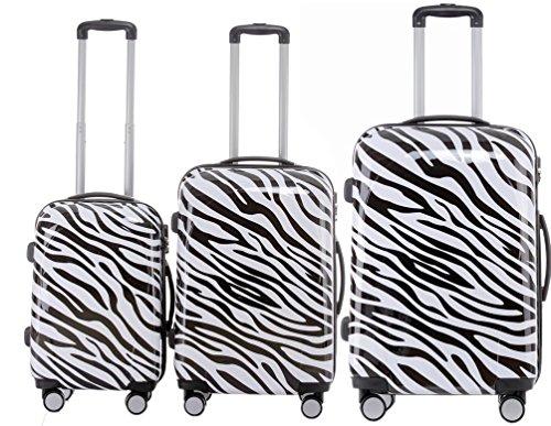 BEIBYE Reisekoffer Hartschalen Hardcase Trolley Zahlenschloss Polycarbonat Set-XL-L-M- Beutycase (Zebra, 3er Set(XL+L+M))