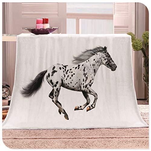 WN-blanket Kinder Erwachsene Sherpa-Flanell-Vlies-Decken-super-weiche warme Fleece Fleecedecken Mercedes Pferd Illustration for Couch-Bett Sofa (Größe: 130x150cm) (Size : 150x200cm)