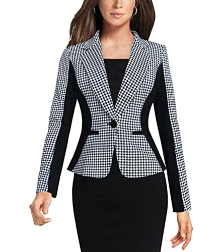 Aisuper Womens Grid Slim Plus Size Blazer Jacket Suits Coat Outerwear 3X-Large White