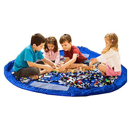 Organizador alfombra estera de Juegos para niños y almacenamiento de juguetes XL 150 cm de diámetro | Manta de juegos alfombra estera saco recoge juguetes con cuerdas | Recoge juguetes en color azul