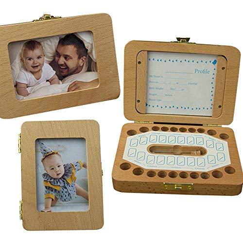 LARRY SHELL 2 STÜCKE Baby Zahnfee Box Holz Fotorahmen Zahnschoner Boxen Keeper Personalisierte Zahnhalter für Kinder Wunderbares Geschenk, für Baby Shower Geburtstag - Sterilisieren Einer Pinzette