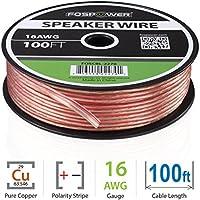 FosPower Cable de Altavoz (30m) 16AWG Prima Oxígeno Gratis Desnudo Cobre Speaker Wire con Claro Chaqueta y Rojo Polarity Mark (100ft)