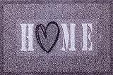 oKu-Tex Fußmatte | Schmutzfangmatte | 'Deco-Soft Entrance'| Home mit Herz | Aufdruck | für innen | Eingangsbereich / Haustür / Treppenhaus | rutschfest | 50x80 cm