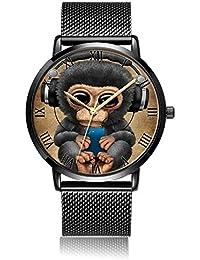 Dazhi Custom Fashion Analog Quartz Wrist Watch, Wolf Durable Black Steel Bracelet Wrist watch For Women and Men