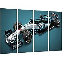 Cuadro Moderno Fotografico Coche Formula 1, Mercedes F1 W09, Mercedes F1 2018, Lewis Hamilton, Valtteri Bottas, 131 x 62 cm, Ref. 27105