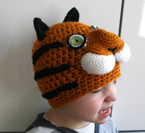 Tiger Kostüm Adult - Crochet pattern tiger beanie hat 5 sizes newborn to adult (45) (crochet hat Book 1) (English Edition)