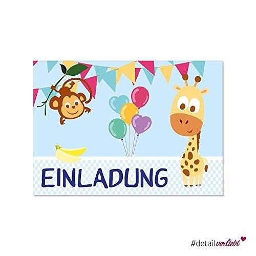 mit Zoo-Tieren I dv_176 I DIN A6 I Einladung Set Kinder-Geburtstag Einschulung zum Ausfüllen ()