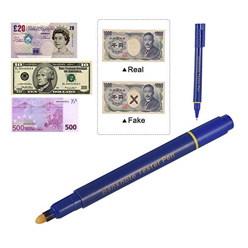Aibecy Tragbare Mini Geldscheinprüfstift Falschgeld-Detektor Stift Geld Marker Währung Cash Checker Gefälschte Dollar-Marker mit Kugelschreiber für US-Dollar Euro-Pfund Yen Korean Won