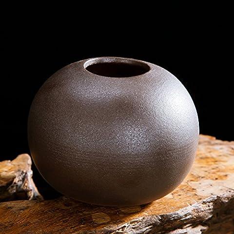 Keramische Vase dekorative Ornamente Blumen-Arrangement Kreative 3-Stück im japanischen Stil einfach home, schwarzer Sand (Runde Dekorative Jar)