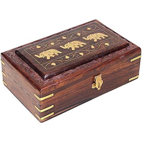 regalos del dia de padre, Hecha a mano decorativa caja de joyer?a de madera del recuerdo del organizador del almacenaje con embutido de metales del