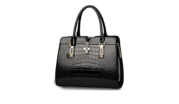 2b43d73a07c0 Alidear Alidier New Brand and 2016 Women s Handbag Tote Purse Shoulder Bag  Fashion Top Handle Designer Bags for Ladies Black  Amazon.in  Shoes    Handbags