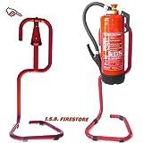 Feuerlöscher-Ständer für 6/9/12 kg Geräte rot lackiert rund gebogen von ISB Firestore