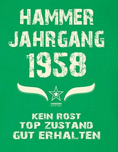 Modisches 59. Jahre Fun T-Shirt zum Männer-Geburtstag Hammer Jahrgang 1958 Ideale Geschenkidee zum Jubeltag Farbe: hellgrün Hellgrün
