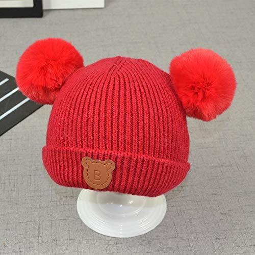mlpnko Infant Strickmütze Leder Label Cartoon Ohrenschützer Hut Kind Winddicht Ohrenschützer Wild Red 36-48 cm