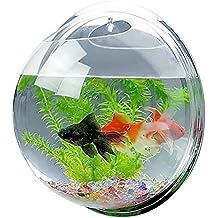 espejo de estilo de la cara de acrílico montado en la pared redonda de peces colgantes pecera tanque de acuario para los peces de oro y la planta de peces ...