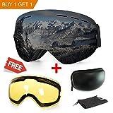 Maschera da sci, antiappannamento, con protezione UV, con doppie lenti intercambiali, ideale per lo sport invernale come lo snowboard, il pattinaggio, lo sci, per uomini e donne, Black