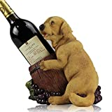Simulación animal de la personalidad creativa animal que modela el estante natural del vino de la resina de la calidad adorna los juguetes de los niños caseros del regalo salvajes todos los lugares Perrito amarillo y perrito blanco 21 * 23CM ( Color : Yellow )