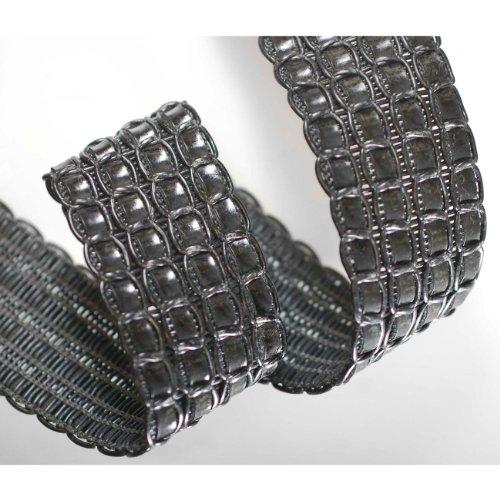 Neotrims 5cm Wide Faux Leather Plaited Strap Trimming,Crochet Weave Effect Design for Coach Pram Accessories, Fastening, Belt Making, Tie Backs, Bag Handles. Beautiful Matte Colours of Brown & Black. Blk Pu Shoe
