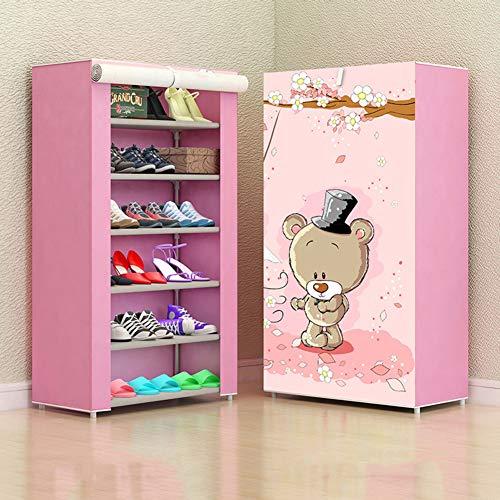 Shoe rack scarpiera_7 livelli 20 paia ripiano per scarpe risparmiando spazio organizzatore di scarpe scarpiera con parapolvere foyer, corridoio, balcone guardaroba rosa