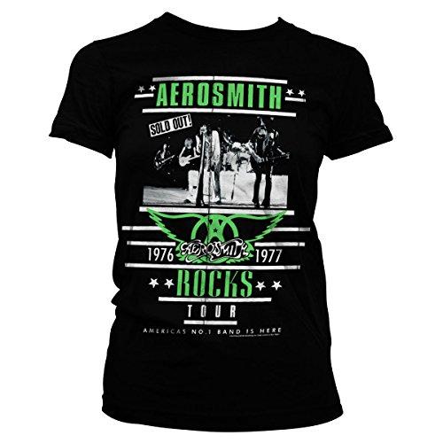 Aerosmith ROCKS Tour Official Women T-Shirt (Black), Small (T-shirt Damen Aerosmith)