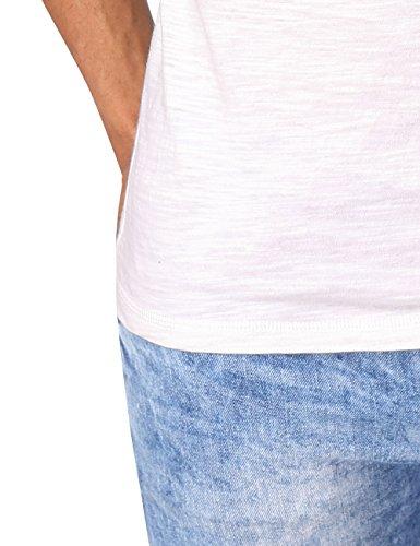 HEMOON Herren T-Shirt Kurzarm Shirt mit Grandad-Ausschnit 100% Baumwolle Henley Neck Weiß