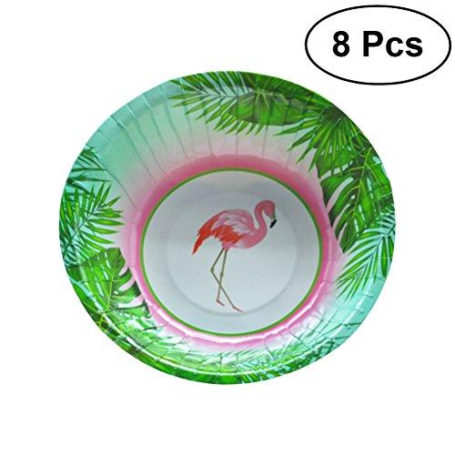 luoem Flamingo Einweg Papier Schalen Geschirr Essgeschirr-Set Flamingo Geschirr Party Supplies, 8Stück