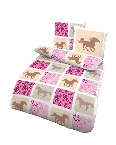 Träumschön Pferdebettwäsche Mädchen 135x200 | Biber Bettwäsche aus 100% Baumwolle | Biber Bettwäsche Mädchen 135x200 cm & Kissenbezug 80x80 | 2teilig