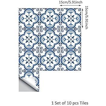 Sticker de Carrelage Adh/ésif 15x15cm Art D/écor Salle de Bains et Cuisine-10pcs