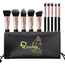 Qivange Brochas de Maquillaje, Grupo de Base de Brocha de Maquillaje de Superior Sintético de Kabuki Grupo de Brocha de Sombra de Ojos Colorete Antiojeras Polvo + Bolsa(10pcs, Negro con Oro Rosa)