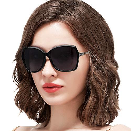 ARLTTH Sonnenbrille für Damen Polarisiert Großer Rahmen Verlaufsglas 100% UV400 Schutz (Schwarzer Rahmen/Polarisierte Grau Linse)