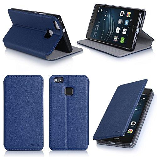 Ultra Slim Tasche Leder Style Huawei Ascend P9 Lite 4G Dual Sim Hülle blau Cover mit Stand - Zubehör Etui Huawei Ascend P9 LITE Flip Case Schutzhülle (PU Leder, Blue) - XEPTIO accessoires