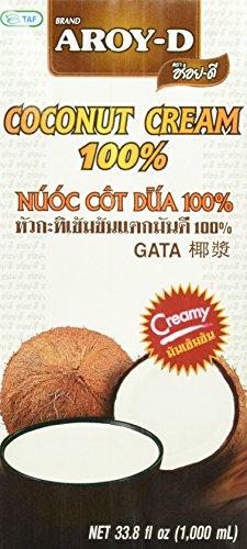 AROY-D Kokosnusscreme (naturbelassen - ohne Zusatzstoffe - Fettgehalt ca. 20% - Ideal zum Kochen, Backen, für Desserts und Cocktails) 3er Vorteilspack à 1 l (Kokos-milch-creme)