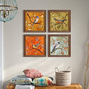 Floral & Birds Theme Framed Painting/Posters for Room Decoration, Set of 4 Brown Frame UV Textured Art Prints/Posters for Living Room by Painting Mantra (4 Unit, 9 x 9 Inches)