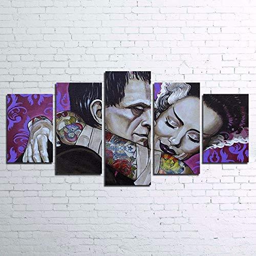 Freude Teppiche Rose (mmwin Wandkunst HD Drucke Leinwandbilder Wohnkultur Rahmen 5 Stücke Frankenstein Film Charaktere Leiche Braut Schlafzimmer Poster)