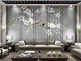 Fototapete 3D Tapete Chinesische Schlicht, Elegant Und Warme Blume Und Vogel Hellgraue Wandmalereien 3D Effekt Vliestapete Wandbilder Wanddeko