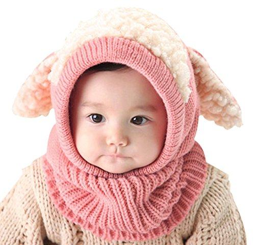 LinQuick Winter Baby Kinder Mädchen Jungen Warme Wollene Haube Schal Mützen Hüte (Blau) (rosa)
