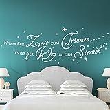 Grandora W3023 Wandtattoo Zitat 'Nimm dir Zeit zum Träumen,…' + 20 Sterne Schlafzimmer schwarz 165 x 50 cm