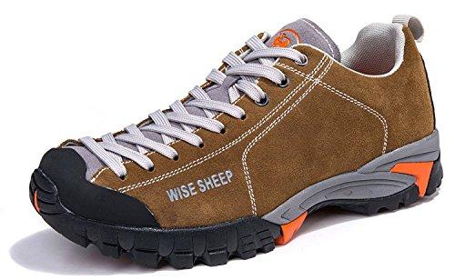 Wise Sheep Weises Schaf Leder Salewa Herren Trekking- und Wanderhalbschuhe Echte # 5572 (41, Khaki) (Schaf-leder-schuhe)