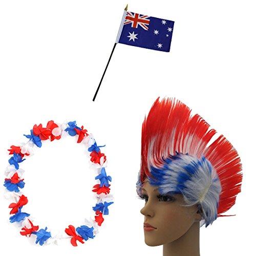 Sonia Originelli Fan-Paket-4 WM Fußball Irokese Perücke Hawaiikette Flagge Party Farbe Australien