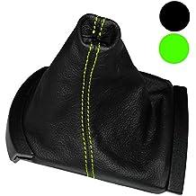 AERZETIX: Funda para palanca de cambios 100 % Piel Genuina negro Costuras de color verde