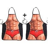 ABCTen lustige Schürze mit Muskel-Aufdruck, 2er-Pack, für die Küche oder für die Grillparty