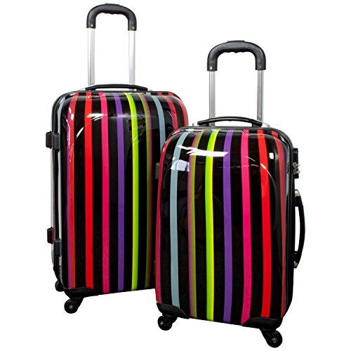 Reise Kofferset mit Rollen 2 teilig leicht mit verschiedenen Motiven - Polycarbonat Reisekoffer Trolley-Set (Asmara)
