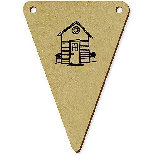 5 x 70mm 'Cabane de Plage' fanions triangles en bois (BN00009235)