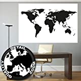 XXL Poster Weltkarte schwarz-weiß Wandbild Dekoration Landkarte Kontinente map of the world Globus Erde Welt Erdkunde| Wandposter Fotoposter Wanddeko Bild Wandgestaltung by GREAT ART 140 x 100 cm